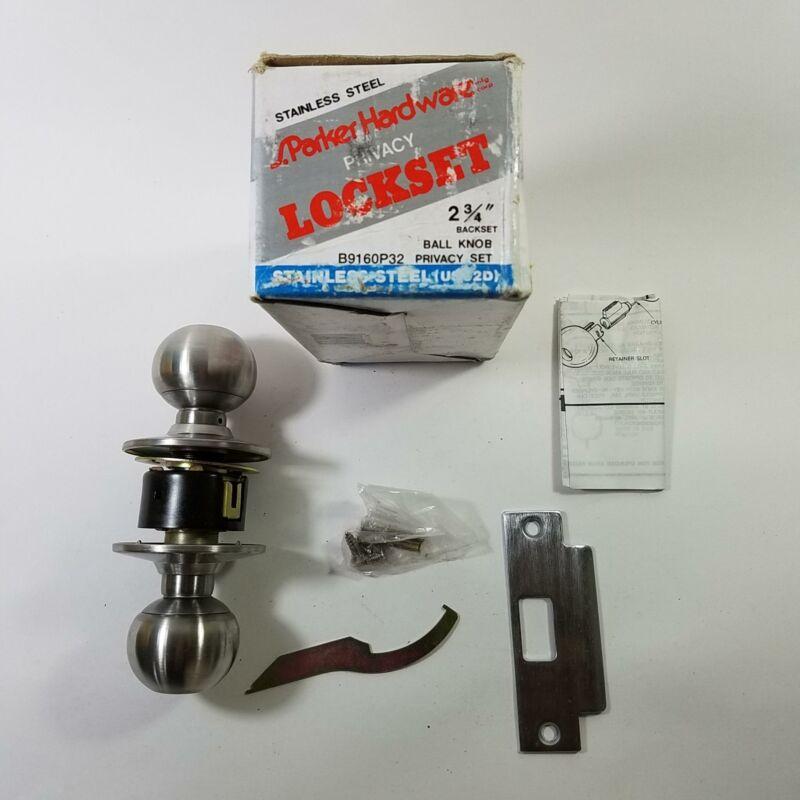 "Parker B9160P32 Stainless Steel Lockset Ball Knob Privacy Set 2 3/4"" Backset"