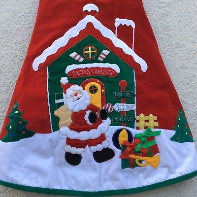 "Christmas Tree Skirt 44"" Round Santa's Workshop Red Velvet Quilted Green Trim"
