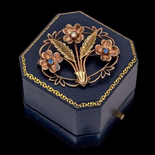 Antique Vintage Art Nouveau 10k Gold WHITE CO Faux Sapphire & Diamond Pin Brooch