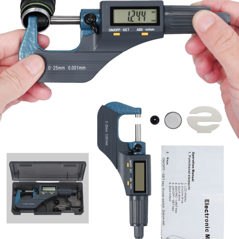 """0-1""""0.00005"""" Digital Electronic Outside Micrometer Carbide 0-25mm LCD Display US"""
