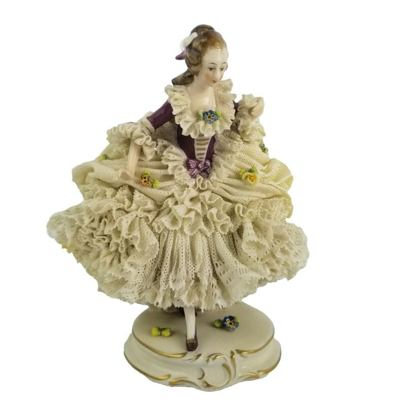 Antique Dresden German Porcelain Lace Lady with Flowers Figurine