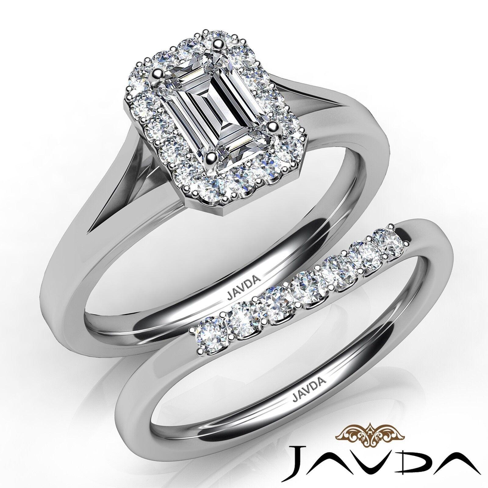 0.86ctw Classic Halo Bridal Set Pave Emerald Diamond Engagement Ring GIA E-VVS1
