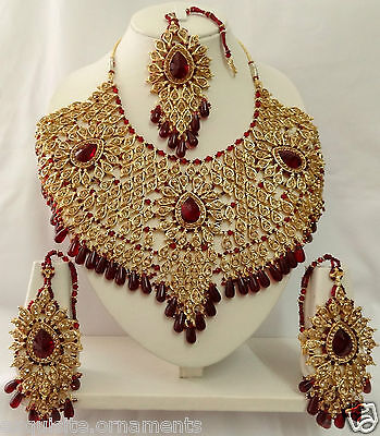 Indian Bollywood Bridal Kundan Diamante Necklace Set Fashion Jewelry ECL A5115