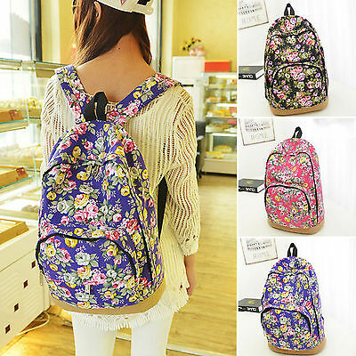 Womens Canvas Floral Travel Backpack Satchel Rucksack Laptop