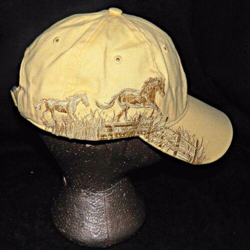 Dri Duck Wildlife Series Meadow Horses Western Baseball Hat Cap Light Yellow
