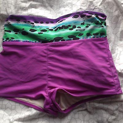 Joe Boxer XL EG(14/16) Purple Swim Bottom With leopard Fold Over Waist