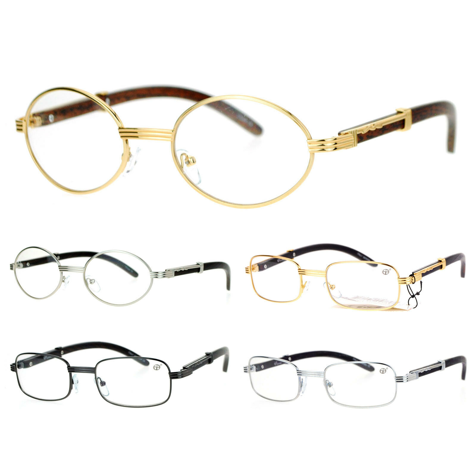 115ad7eaecd0 SA106 Retro Wood Buffs Vintage Style 90s Gangster Metal Frame Eye Glasses