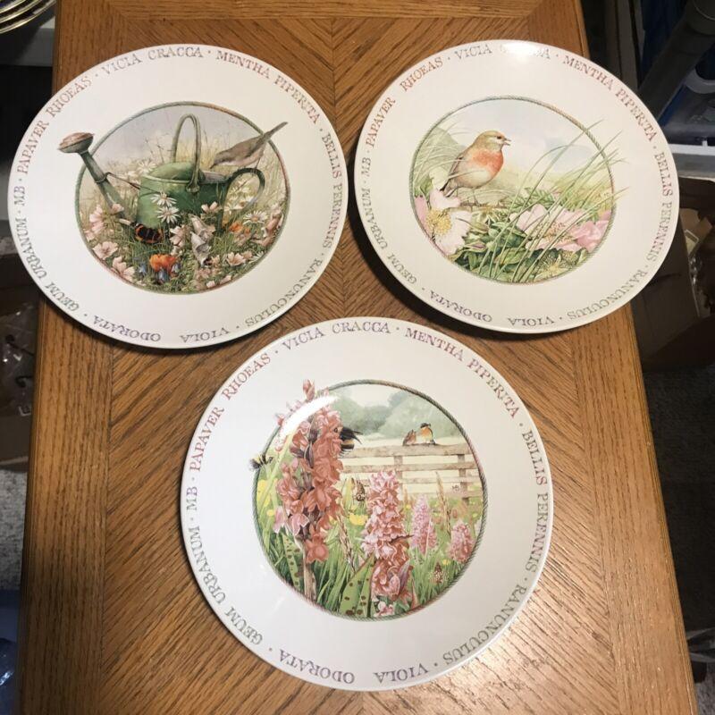 """MARJOLEIN BASTIN WILDFLOWER MEADOW Dessert / Salad Plate Bird Flower Patch 8""""(3)"""
