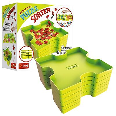 Trefl 6 Stackable Plastic Trays Jigsaw Puzzle Shape Colour Sorter Organiser NEW