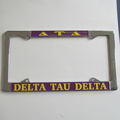 Delta Tau Delta Chrome License Plate Frame, Die Cast, New, Made in USA