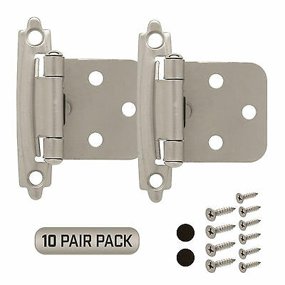 Cabinet Hinge 10 Pair Pack (20 Pcs) Self Closing Face Mount Overlay Satin Nickel