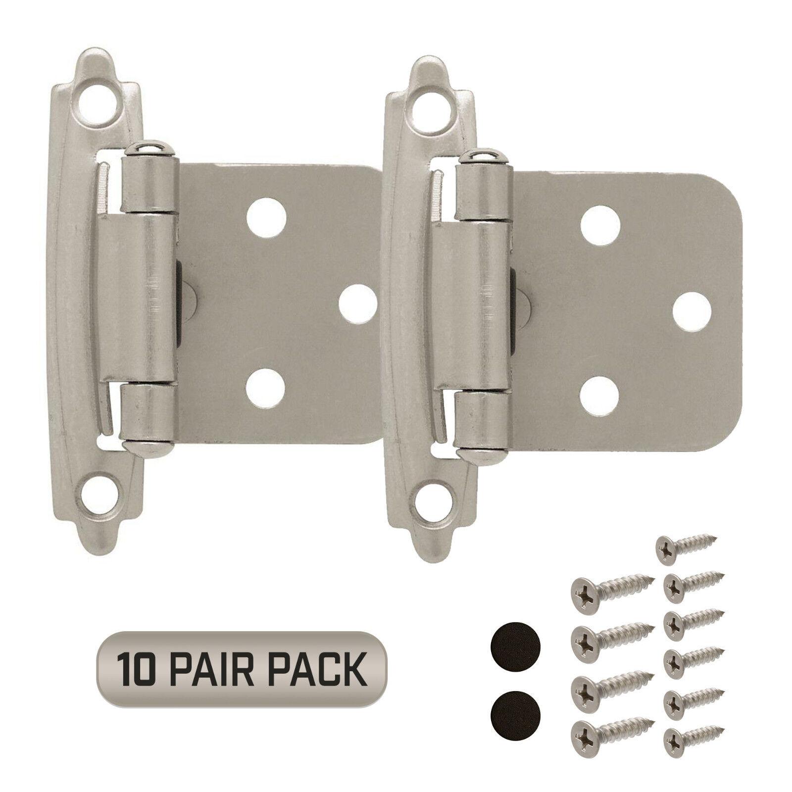 Cabinet Hinge 10 Pair Pack (20 Pcs) Self Closing Face Mount Overlay Satin Nickel Building & Hardware