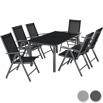 Gartenmöbel (6+1 Alu Sitzgruppe Gartenmöbel Gartengarnitur Tisch Stuhl Essgruppe Gartenset)