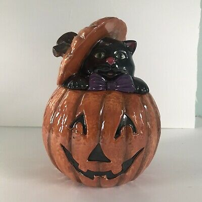 Orange Ceramic Cheryl And Co. Halloween Jack-O-Lantern And Black Cat Cookie Jar