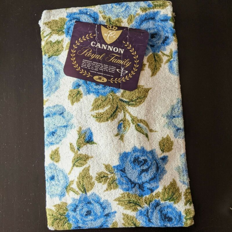 New Vintage Cannon Bath Towel Set BLUE ROSES  Royal Family Cotton USA NOS w/tag