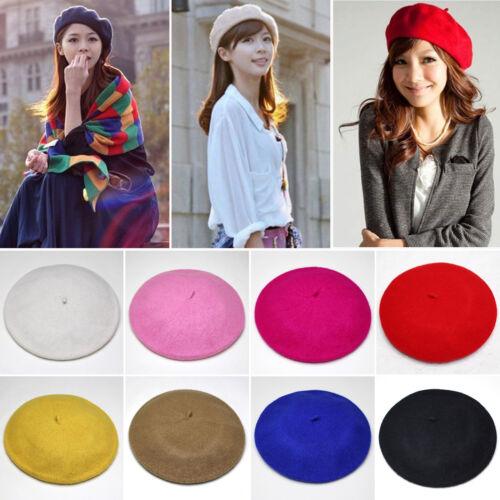 NEU Einfarbig Baskenmütze Wolle Französisches Beret Winter Herbst Damen Mädchen