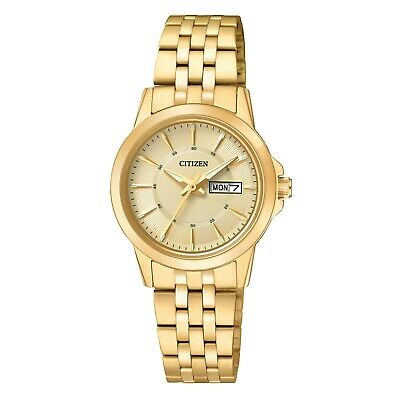 Citizen Women's Quartz Champagne Dial Gold-Tone Bracelet 28mm Watch EQ0603-59P
