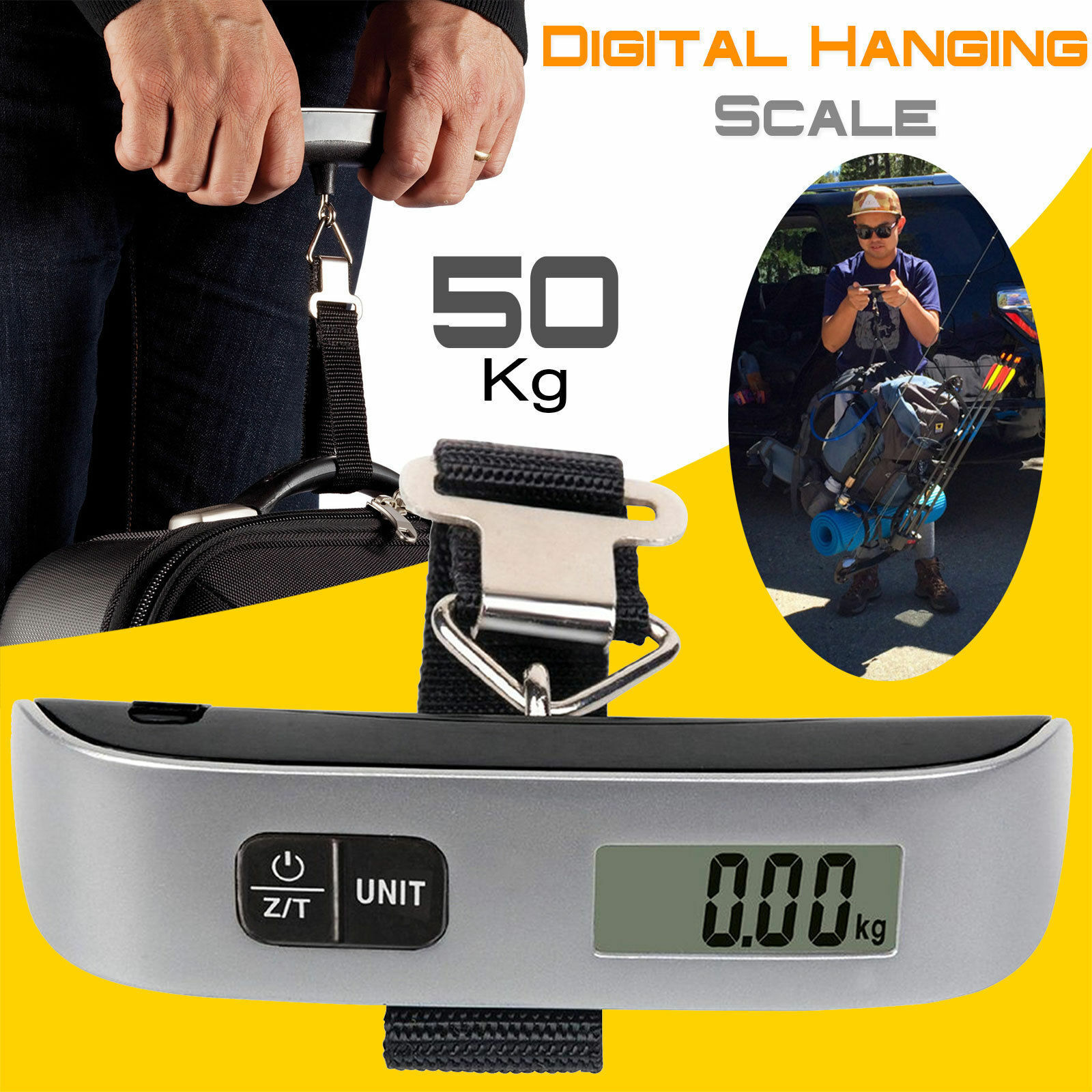 Portable Balance Digital LCD Electronic Hook Hanging Luggage Scale Weight-110lb Home & Garden