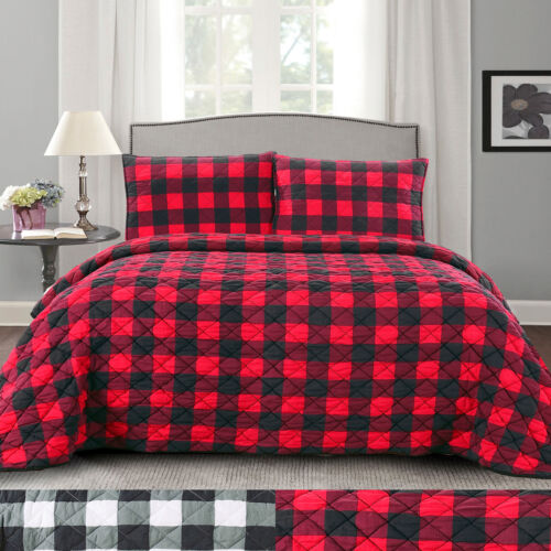Buffalo Check Print Ultra Soft 3-Piece Quilt & Pillow Sham Set Bedding