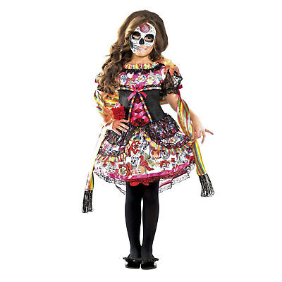 Sugar Skull Girl Costumes (Child Girl's Day of the Dead Dia de los Muertos Sugar Skull Costume Dress S M)