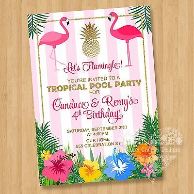 10 - Twin Luau Flamingo Hibiscus Birthday Party Invitations ADORABLE CUTE Pool