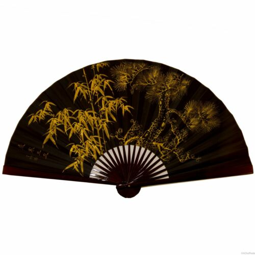 Vintage Large Chinese Folding Bamboo Black and Gold Silk Fan Home Art Decor