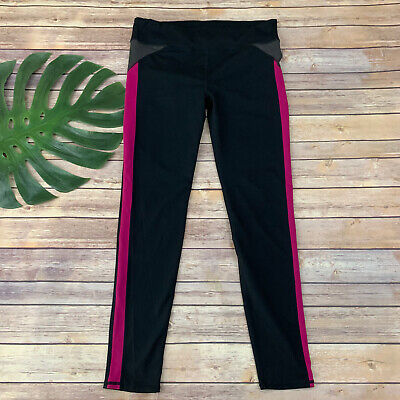 Fabletics Womens High Rise Legging Workout Pants Size L Black Pink Full Length