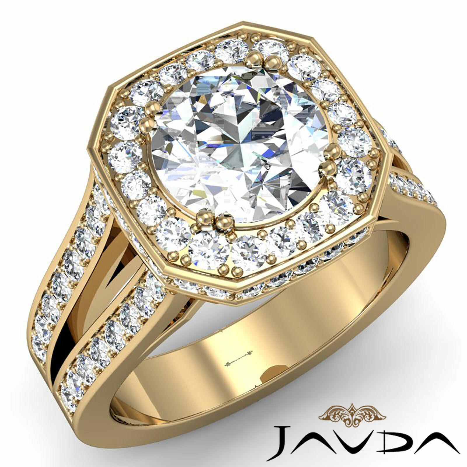 Hexagon Halo Split Shank Round Diamond Engagement Ring GIA F VS1 Clarity 2.84Ct 6