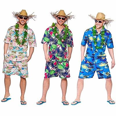 Adult HAWAIIAN Summer Party Guy Palm Tree Fancy Dress Costume Mens Tropical Cute