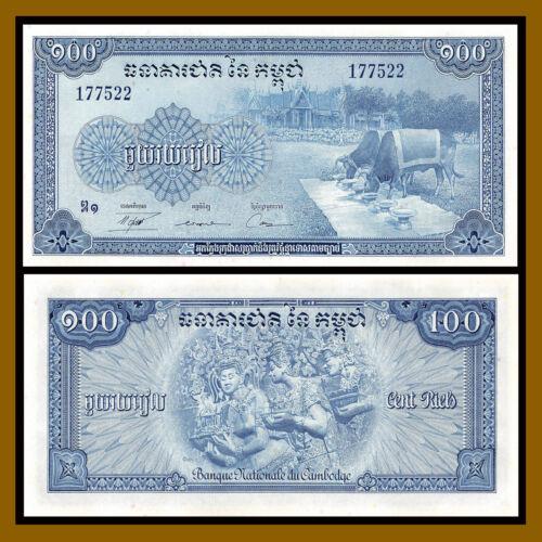 Cambodia 100 Riels, 1956-1972 P-13b Sig# 12 Water Buffalo Oxen Unc