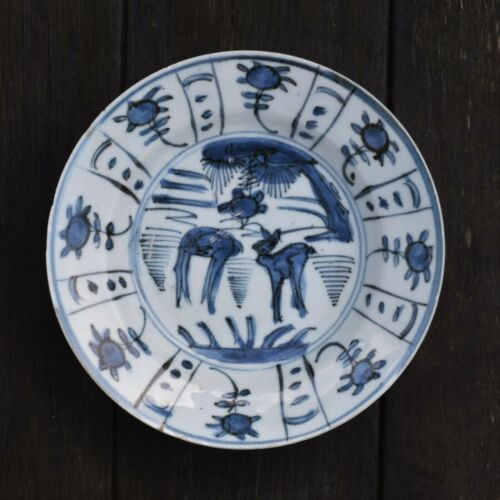 Antique Chinese Ming Dynasty Wanli Kraak plate with Deers #1