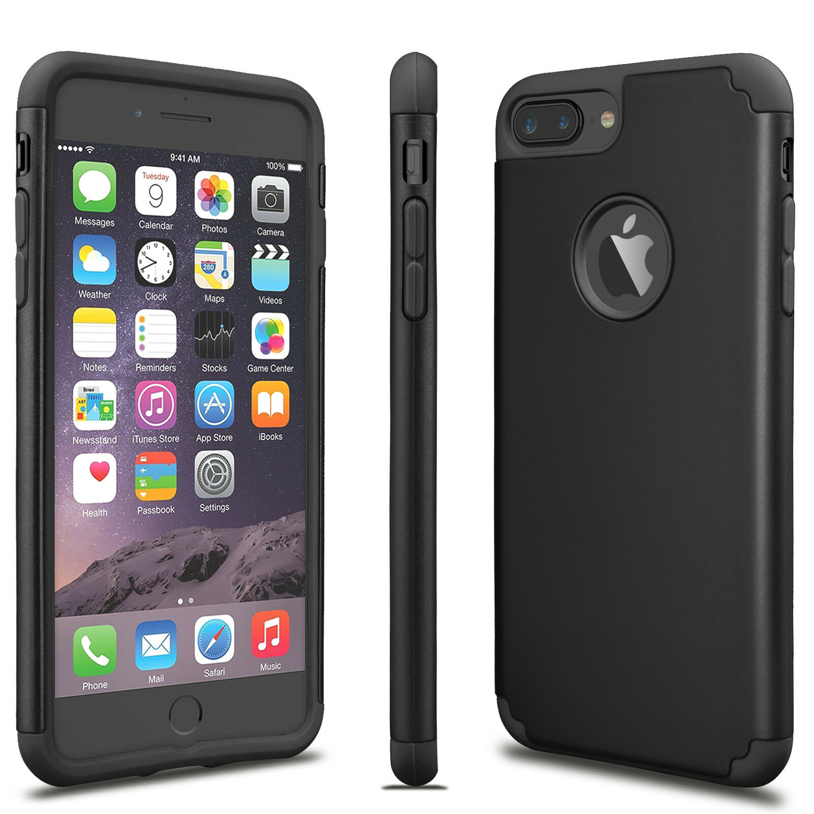 For iPhone X 8 7 6S Plus Luxury Shockproof Rugged Rubber Hard Case Cover