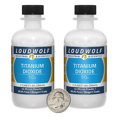 Titanium Dioxide 6 Oz 2 Bottles 99.9 Reagent Grade 44 Micron Powder