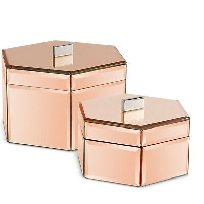 Beautify Mirrored Rose Gold Octagon Jewelry Storage Trinket Boxes Set of 2](Octagon Mirrors)