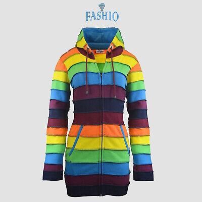 Women's Multi-color Rainbow Sweatshirt Fleece Panel Zip Hoodie