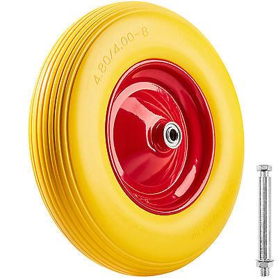 roue complète de brouette polyuréthane avec essieu crevaison proof increvable