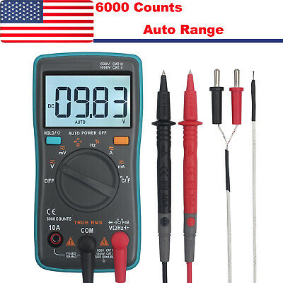 6000counts Trms Digital Multimeter Acdc Auto Range Voltage Current Meter Tester