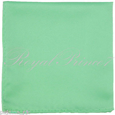 New Men's SOLID Pocket Square Hankie Only  Aqua Green 10 x 10 inches