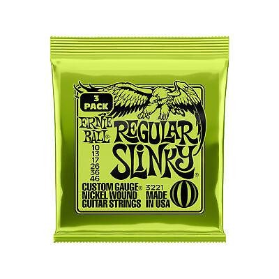 Ernie Ball Regular Slinky Nickel Wound Electric Guitar Strings 3 Pack - 10-46