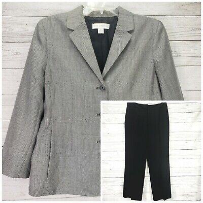 Petite Sophisticate Black White Pant Jacket Lined Suit Size 10