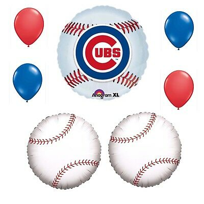 Balloon Decorations Chicago (Chicago Cubs 7 Piece Balloon Bouquet Birthday Party Decorations)