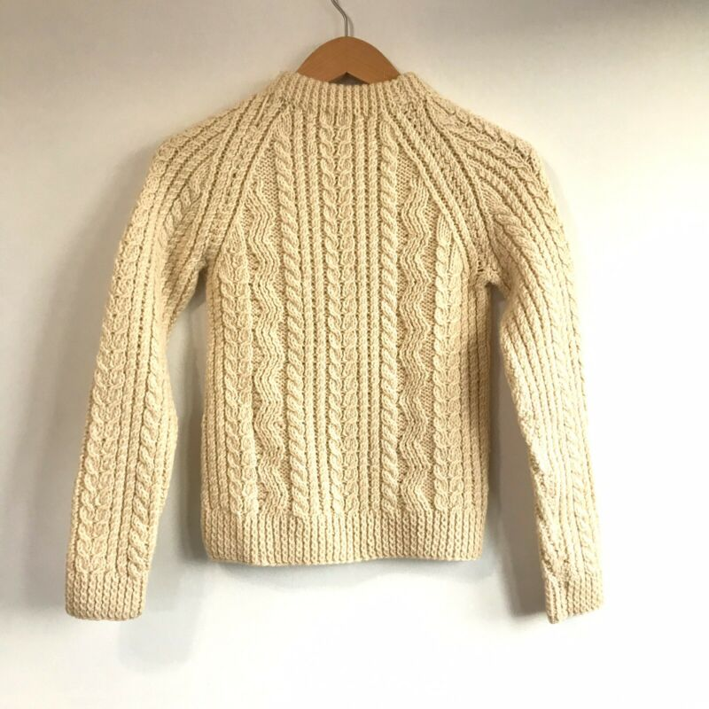 Hand Made Knit Wool Pullover Fisherman Sweater Irish Ireland Ivory M