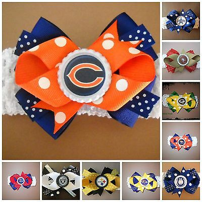 NFL Team Hair Bow With or W/O Headband Baby Toddler *Your Choice *SHIPS FREE