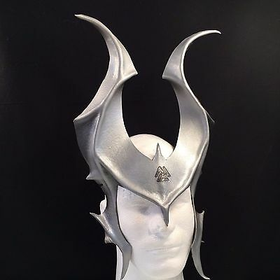 ODIN HORNS Silver Leather Cosplay Horns with Vauknut, Viking LARP Halloween Mask - Odin Halloween