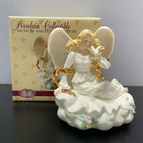 Classic Treasures Porcelain Angel with Doves Musical Figurine Ave Maria MIB 6.5""