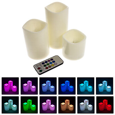 3er Set LED Kerzen mit Farbwechsel Fernbedienung Batterie und Timer bunt groß
