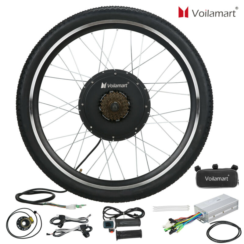 "26"" Electric Bike Rear Wheel Bicycle Conversion Kit Hub Motor Cycling 48V 1000W"