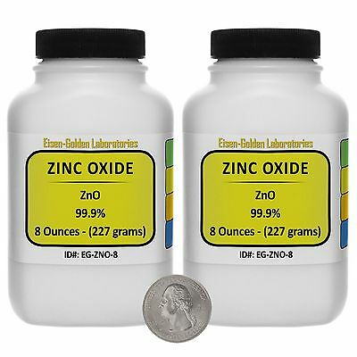 Zinc Oxide Zno 99.9 Acs Grade Powder 1 Lb In Two Space-saver Bottles Usa
