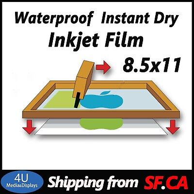 8.5x11hp Printer Waterproof Inkjet Screen Printing Transparency Film50 Sheets