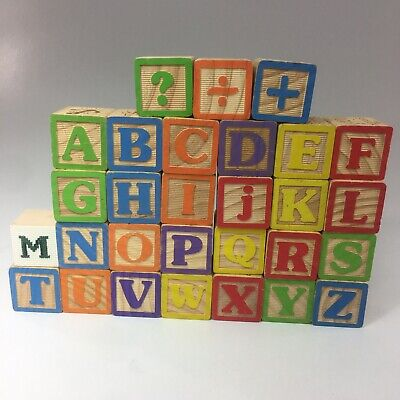 """Lot of 28 Wooden ABC & Other Blocks 1 3/4"""" & (1) 1 1/2"""" Block-See Description"""